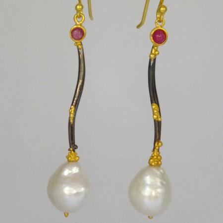 Ruby, pearl, gold & black rhodium earrings